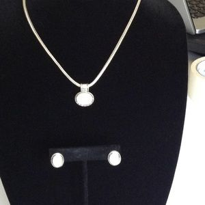 Ivory Cream, Circle Drop Necklace, Earrings, Circl